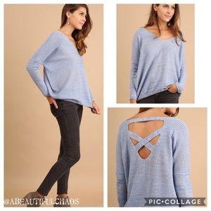Sweaters - Periwinkle Blue Cross Back Sweater
